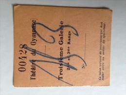 THÉÂTRE DU GYMNASE, Paris , 15  FÉVRIER 1920 - Tickets - Vouchers