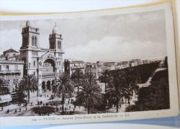 CPA Tunisie TUNIS Avenue Jules Ferry Et Cathédrale - Tunisie