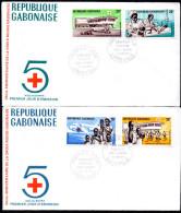 Gabon A 088/91 Fdcs Aide Au Biafra , Renault 4L , Avion , Guerre , Enfants , Medecin - Red Cross