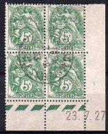 Blanc N° 111 Oblitéré En Bloc De 4 Coin Daté 23.7.27 - ....-1929