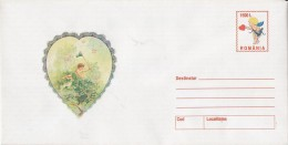3689FM- ANGEL, BUTTERFLIES, CUPID, VALENTINE'S DAY, COVER STATIONERY, 2000, ROMANIA - Fêtes