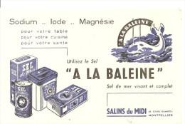 Buvard A LA BALEINE Sodium Iode Magnésie A LA BALEINE Sel De Mer Vivant Et Complet Salin Du Midi Montpellier - Alimentaire