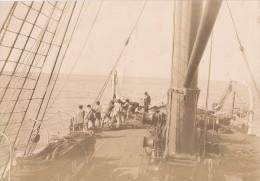 Photo originale S�pia marins � bord du Washington manoeuvres des ancres en mer