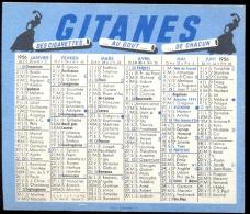 Kalender Calendrier - 1956 - Publicité Reclame Cigarettes Gitanes - Calendarios