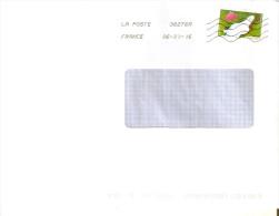 """ENVELOPPE MOYEN FORMAT  AVEC TIMBRE LETTRE VERTE FRANCE  ANNEE 2015 """"LA VUE""""  OBLITERE - France"""