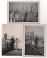 Photo originale Marine lot de 3 sur la dunette du SS Marseille � New York 1946 et 1947