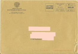 Enveloppe Illustrée Ambassade De Russie En France + EMA ML 085171 - Blason Aigle Rapace Eagle Adler - Enveloppes