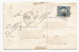 - Lettre - SEINE - LA VILLETTE - PC.3637 S/TPND N°4 + Càd T.15 - 1852 - 1849-1850 Cérès