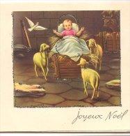 L45A176 - Joyeux Noël - Enfant Jésus - Carte Ouvrante Et Découpée, Nativité - Paillettes - Christmas