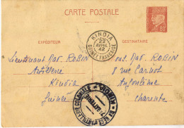 ENTIER POSTAL PETAIN OBLITERATION KINDIA GUINEE 1942