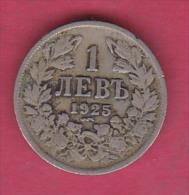 F5461 / - 1 Lev -  Tilde In Year 1925 - Bulgaria Bulgarie Bulgarien Bulgarije - Coins Monnaies Munzen - Bulgaria