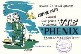 Au Phenix  Assurance Vie - Avion Et Enfant Pilote - Cachet Agence De  Caen   (calvados) - Format 13,5 X 21 Cm - Bank & Insurance