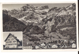 SCHWÄNDI: 2-Bild-AK Mit Gasthaus Adler 1920 - GL Glaris