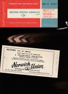 DOC2) BRITISH UNITED AIRWAYS LIMITED PASSENGER TICKET 1964 LITTLE HOLES STAPPLED - Biglietti