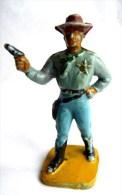Figurine Guilbert COWBOY SHERIFF Chemise Bleue 60's Pas Starlux Clairet Cyrnos, - Starlux