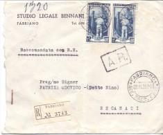 STUDIO LEGALE BONNANI - FABRIANO - 12X15 - R - ANNO 1954 - TEMA TOPIC COMUNI D´ITALIA - STORIA POSTALE - Affrancature Meccaniche Rosse (EMA)