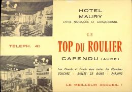 Pub Reclame Carte Visite - Hotel Maury - Le Top Du Roulier - Capendu Aude - Cartes De Visite