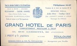 Pub Reclame Carte Visite - Grand  Hotel De Paris - Toulouse - Cartes De Visite