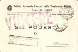 ISTITUTO NAZIONALE FASCISTA DELLA PREVIDENZA SOCIALE - F/G - V:1941 - VINCERE - Sonstige