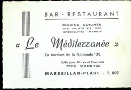 Pub Reclame Carte Visite - Bar Restaurant Le Méditerranée - Marseillan - Plage - Cartes De Visite