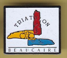 48480-Pin's.Beaucaire.Triathlon.cyclisme.natation.athletisme.. - Leichtathletik