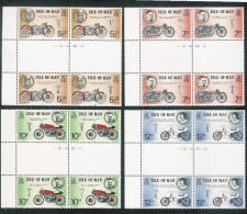 ISLE OF MAN 1975 TT RACES Gutter Pr. Cyl. Blks SG63/6 Unmounted Mint. MNH - Isle Of Man