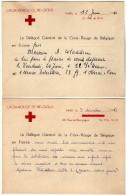 VP2730 - PARIS - 2 Cartes D'invitation Du Délégué Général De La Croix - Rouge De Belgique En France - Cartes