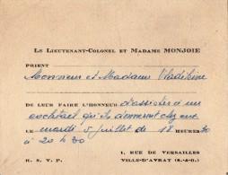 VP2731 - VILLE D´AVRAY - Carte D´invitation  Le Lieutenant - Colonel & Madame MONJOIE - Cartes