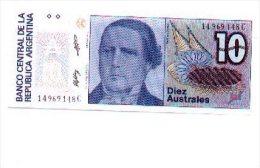6-495. Billete Argentina. 10 Australes, Plancha - Angola