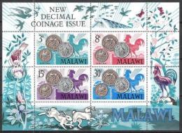 Malawi 1971 Geschichte Währung Bankwesen Geldwesen Münzen Coins Tiere Animals Fauna Vögel Birds, Bl. 21 ** - Malawi (1964-...)