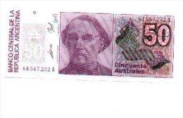 6-496. Billete Argentina. 50 Australes, Plancha - Angola