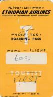 DOC2) ETHIOPIAN AIRLINES BOARDING PASS TICKET ETICHETTA BAGAGLI ANNI 50 - Biglietti