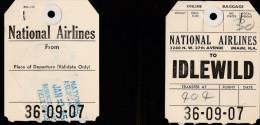 DOC2) NATIONAL AIRLINES TO IDLEWILD TICKET ETICHETTA BAGAGLI 1955 - Biglietti