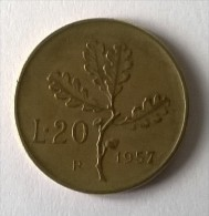 Monnaie - Italie - 20 Lire 1957 - - 20 Lire