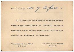 VP2732 - PARIS -  Carte D'invitation  La Direction De Femmes D' Aujourdhui ( Magazine Belge ) - Cartes