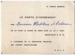 VP2733 - PARIS -  Carte D'invitation  Le Comte D'HERBEMONT - Rencontre équestre Franco - Belge - Cartes