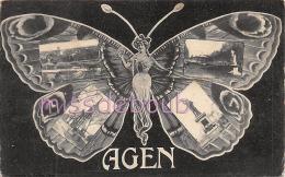 47 - AGEN - Papillon Humanisé Multivues    - 1915 - 2 Scans - Agen