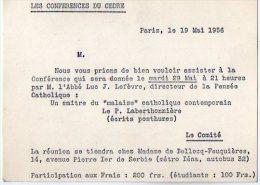 VP2734 - PARIS -  Carte D'invitation  Les Conférences Du Cèdre - L' Abbé Luc J.LEFEVRE - Cartes
