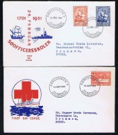 Denmark - 2 FDC 1951.  250th Anniversary Of The Naval Officers College And MS Jutlandia - Danish Hospital Ship. - FDC
