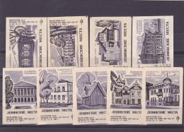 RUSSIA --- MATCHBOX LABELS -- 9x  ARHITECTURE -- 1969 - Boites D'allumettes - Etiquettes