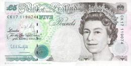 England - Pick 382 - 5 Pounds 1991 - VF+ - 1952-… : Elizabeth II