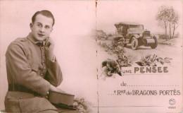 Belle Carte   - Homme   Militaire   ,    Une Pensée   De Régiments De Dragons Portés             AH1588 - Men