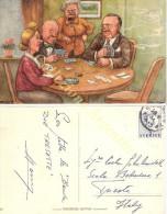 Cartolina Postale Viaggiata Svedese - GIOCATORI DI CARTE - Anni '40 - Firmata - Carte Da Gioco