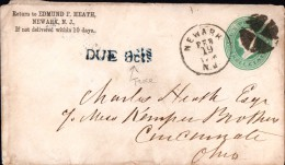 Etats Unis Newark New Jersey Taxe Cincinnati Ohio Tax Edmund F. Heath Entier Postal Three Cents