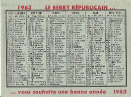 """CALENDRIER 1963 - Le Berry Républicain """" Le Journal De Chez Nous """" - Petit Format : 1961-70"""
