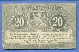 20 Heller Gutschein Steyr 1920, Gültig Nur Bis 30.Juni 1920 - Oesterreich