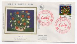 """1984--enveloppe 1er Jour-FDC""""Soie""""--Croix-Rouge 1984--CALY--""""La Corbeille Rose""""cachet  GRASSE--06 - FDC"""