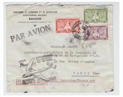 France -poste Aerienne- Lettre D'indochine Pour La France De 1950 - Griffe Du 20° Anniversaire De La 1° Liaison Aérienne - Poste Aérienne