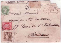 1874- Enveloppe CHARGE De Paris  Affr. N° 53, 56 Et 57  Oblit. étoile 2 Pour Bordeaux - 1849-1876: Periodo Classico