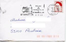 Bicentenaire Proclamation De La République,Œuvre De Martial Raysse 2.50 Seul Sur Lettre,flamme St Marcellin,Isère - Marcophilie (Lettres)